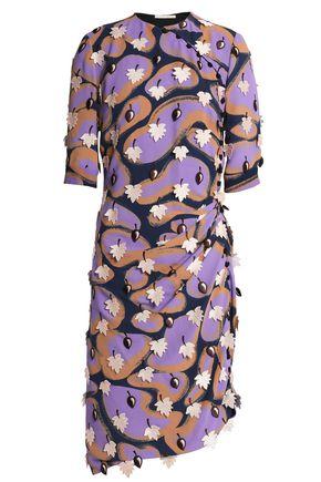 MARCO DE VINCENZO Appliquéd printed crepe dress