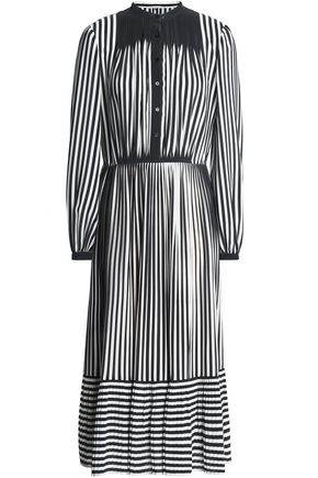 MARCO DE VINCENZO Pleated striped silk crepe de chine midi dress