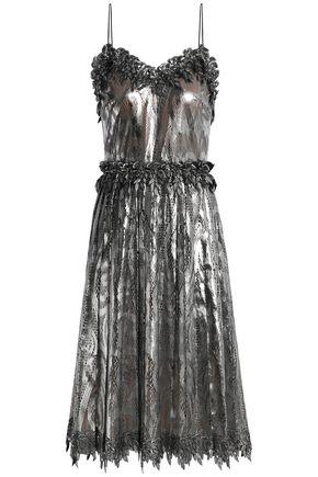 MARCO DE VINCENZO Pleated lamè-lace dress