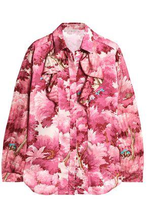 MARCO DE VINCENZO Ruffled printed satin and jacquard shirt