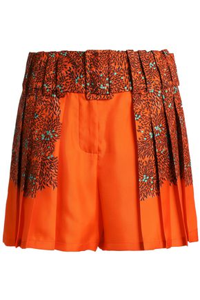 MARCO DE VINCENZO Pleated floral-print silk-twill shorts