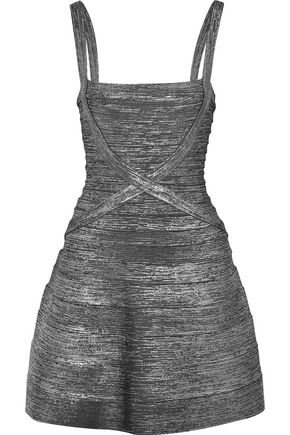 HERVÉ LÉGER Faith metallic bandage mini dress