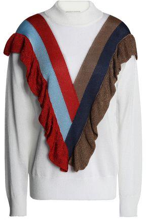 MARCO DE VINCENZO Ruffle-trimmed intarsia-knit sweater