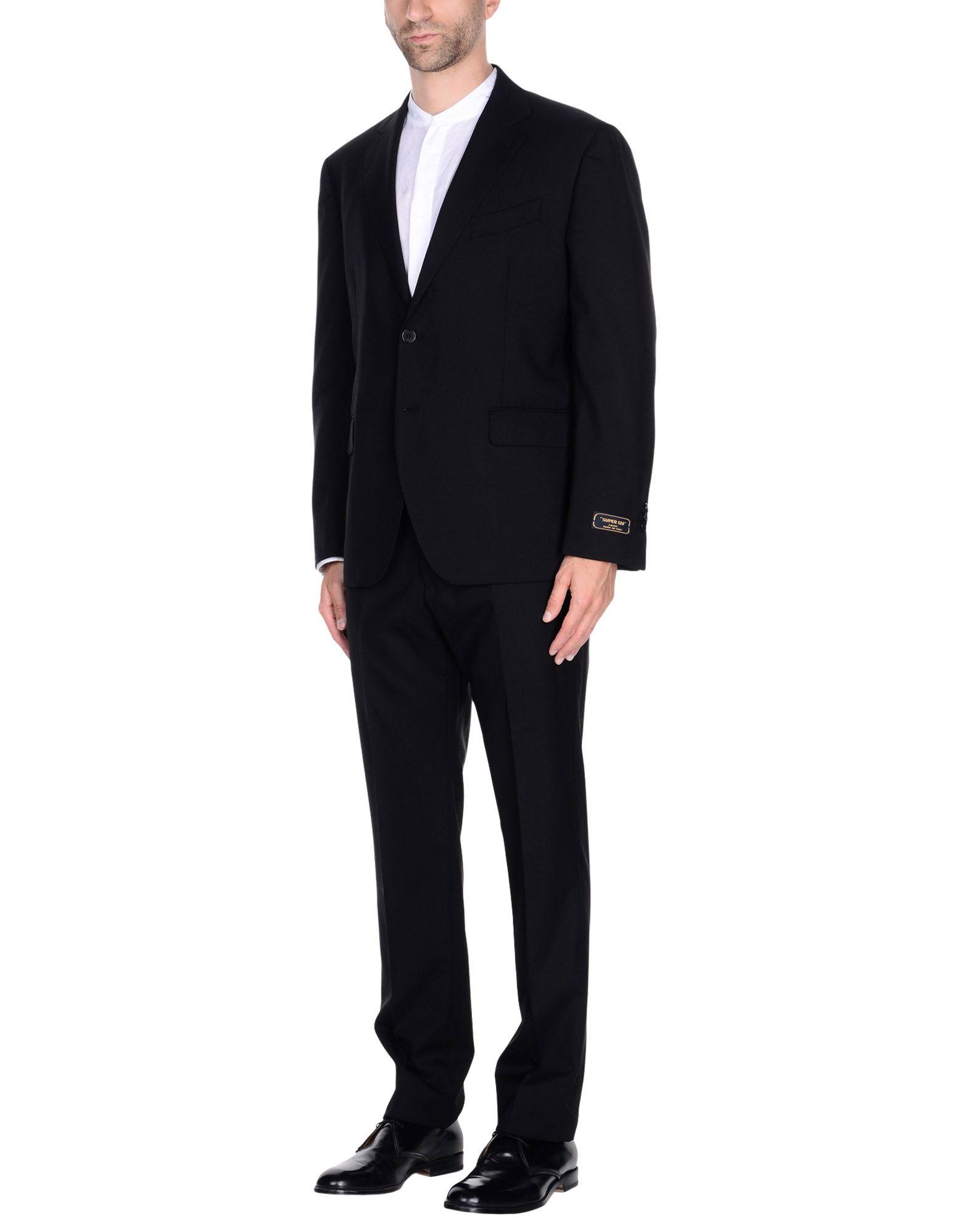 《セール開催中》CONTINI? メンズ スーツ ブラック 46 スーパー120 ウール 100%