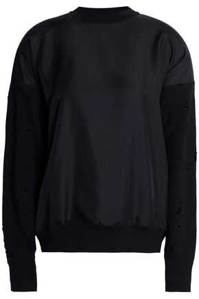 ALEXANDER WANG Silk satin-paneled distressed knitted sweater