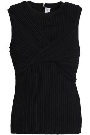 VICTORIA, VICTORIA BECKHAM Wrap-effect pleated georgette top