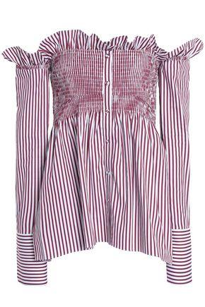 VICTORIA, VICTORIA BECKHAM Off-the-shoulder striped cotton top