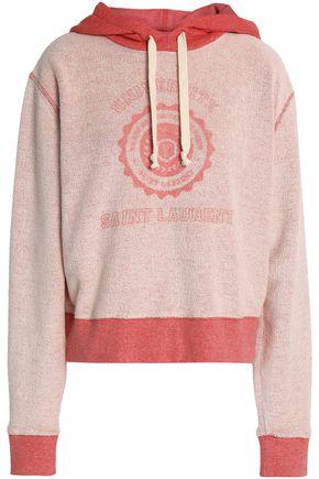 SAINT LAURENT Printed cotton-terry hooded sweatshirt