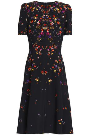 GIVENCHY Fluted floral-print crepe dress