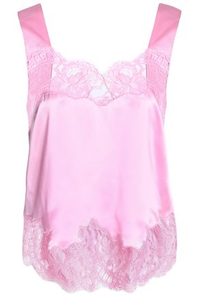 GIVENCHY Lace-trimmed silk-satin camisole