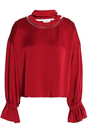 FENDI Mesh-trimmed fluted satin-crepe blouse