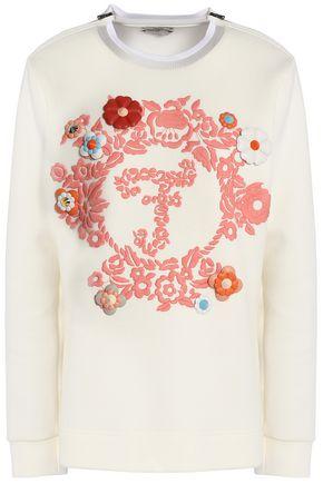 FENDI Leather-appliquéd embroidered cotton-jersey sweatshirt