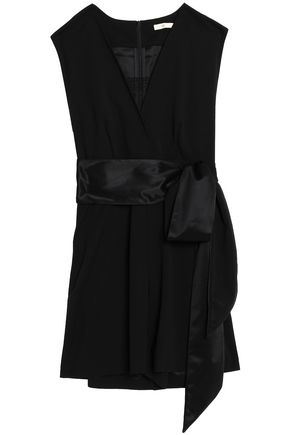 MAJE Lace-trimmed crepe playsuit