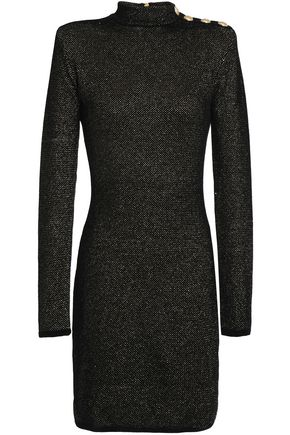 BALMAIN Button-detailed metallic velvet mini dress
