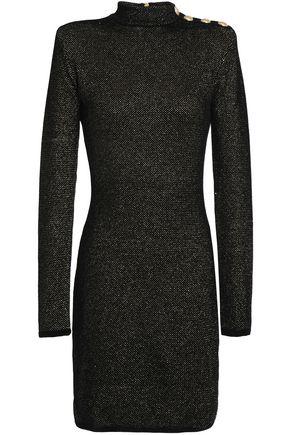 BALMAIN Button-detailed metallic velvet mini dress