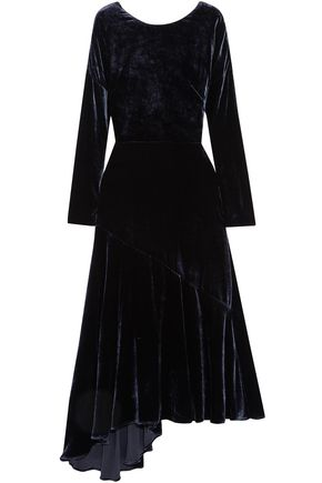 CEDRIC CHARLIER Asymmetric velvet midi dress
