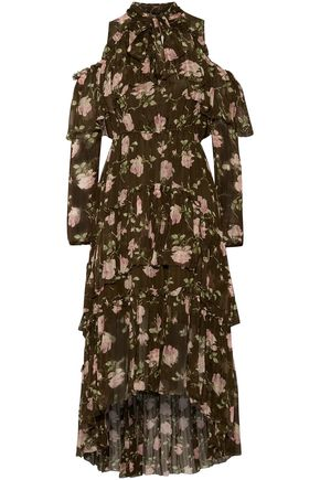 ULLA JOHNSON Marion cold-shoulder tiered floral-print crinkled silk-gauze dress
