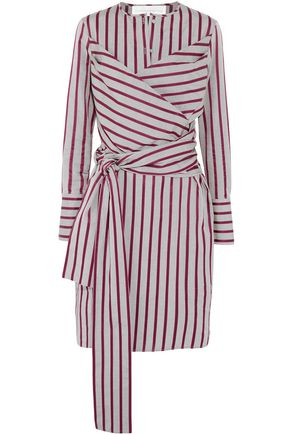 VICTORIA BECKHAM Wrap-effect striped cotton dress