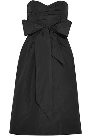ALEXACHUNG Strapless bow-embellished taffeta dress
