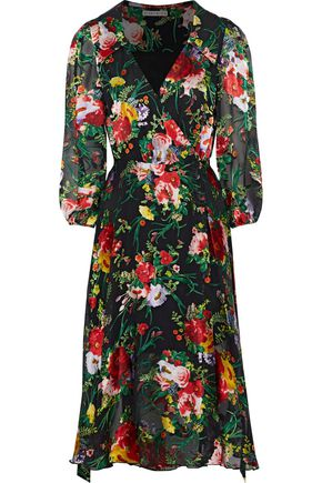 ALICE + OLIVIA JEANS Abbey fil coupé chiffon wrap dress