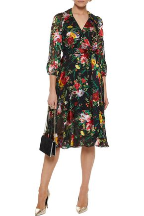 ALICE + OLIVIA Abbey fil coupé chiffon wrap dress