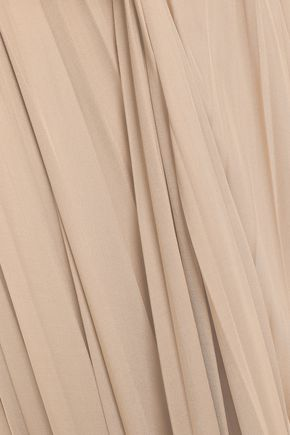 VALENTINO Pleated silk-jersey midi dress