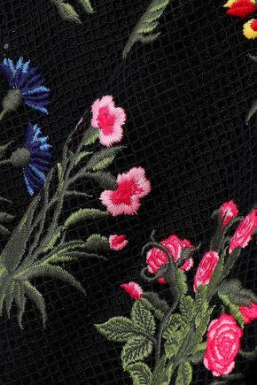 VALENTINO Embroidered appliquéd guipure lace mini dress