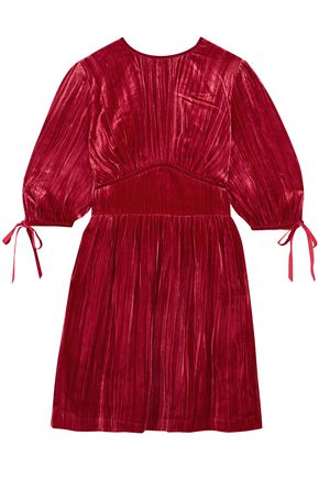 ALEXACHUNG Pleated velvet mini dress