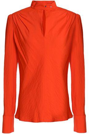 MAJE Lange neon pleated poplin blouse