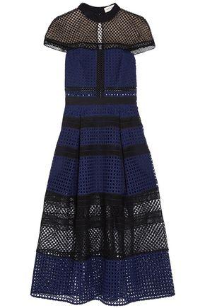 SELF-PORTRAIT Grosgrain-trimmed pleated guipure lace midi dress