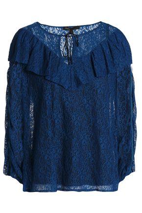 MAJE Velvet-trimmed ruffled lace blouse