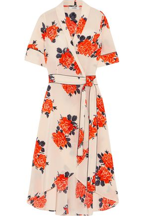 GANNI | Ganni Floral-Print Silk Crepe De Chine Wrap Dress | Goxip