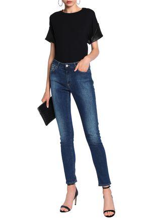 ALIX Woven-trimmed stretch-modal jersey bodysuit