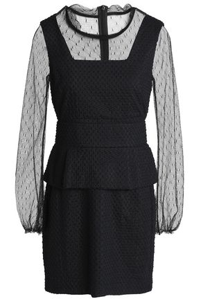 MAJE Rosie point d'esprit-paneled embroidered silk and cotton-blend mini dress
