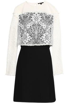 MAJE Layered lace and crepe mini dress