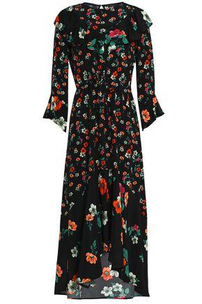 MAJE Ruffled floral-print crepe midi dress