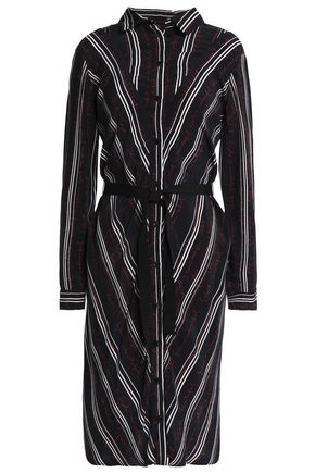 MAJE Grosgrain-trimmed printed satin shirtdress