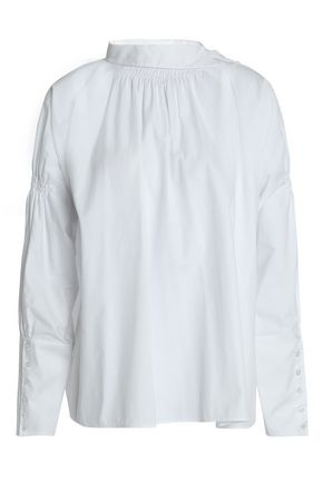 MAJE Shirred cotton-poplin blouse