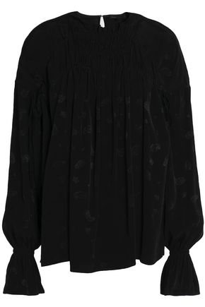 MAJE Gathered jacquard blouse