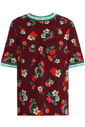 MAJE Ruched floral-print crepe top