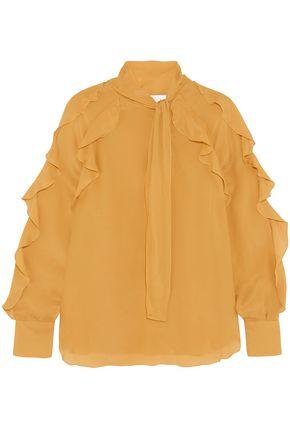 SEE BY CHLOÉ بلوزة من قماش كريب دي شين مزيّنة بالكشكش مع عقدة أماميّة عند الرقبة
