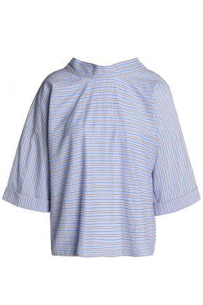 MAJE Bow-embellished striped cotton-blend poplin top