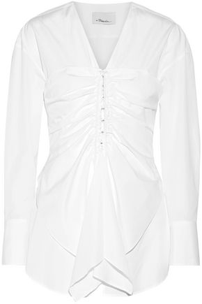 3.1 PHILLIP LIM Layered ruched cotton-poplin shirt