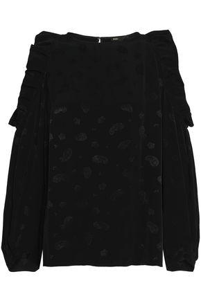 MAJE Loyd cold-shoulder ruffled jacquard blouse