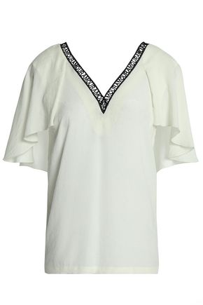 MAJE Layered embroidered crepe top