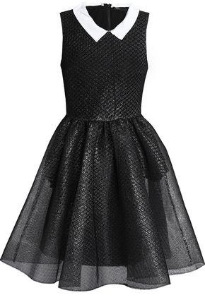 MAJE Flared iridescent mesh mini dress