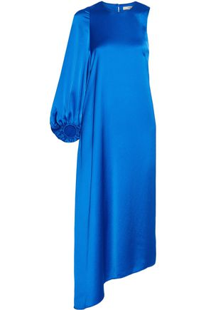TIBI One-shoulder asymmetric satin-crepe dress