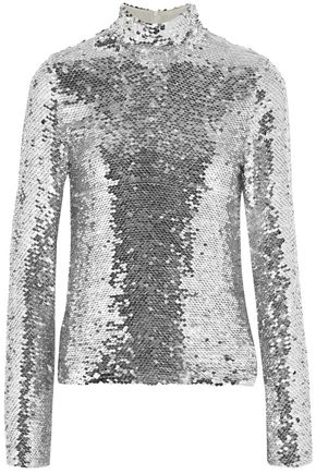 MSGM Sequined crepe turtleneck top