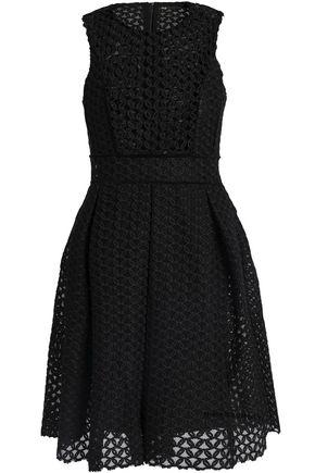 MAJE Velvet-trimmed guipure lace mini dress