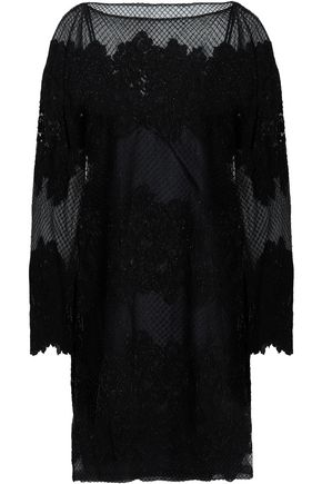 VALENTINO Embellished embroidered silk-blend tulle mini dress